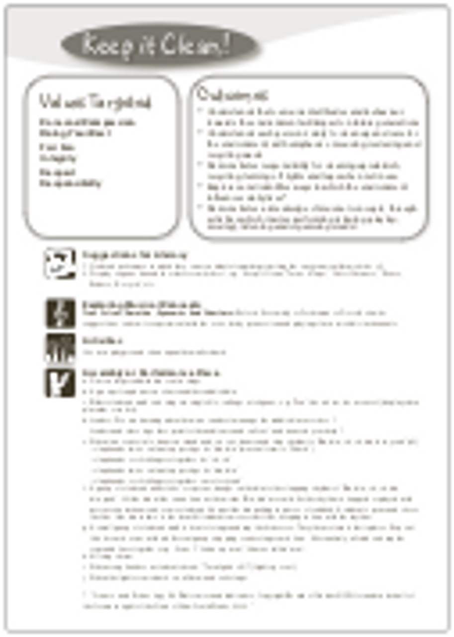 'KEEP IT CLEAN!' (Grades K-7) ~ Curriculum Song & Lesson Materials
