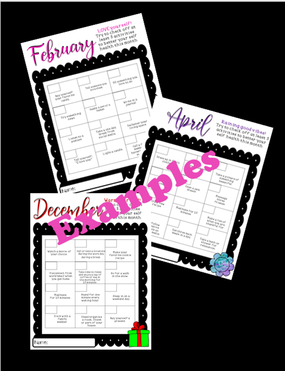 Staff Self Care-Year Long Checklists