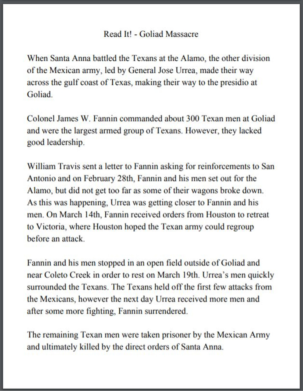 Goliad Massacre, Battle of San Jacinto and Treaty of Velasco Stations/Centers