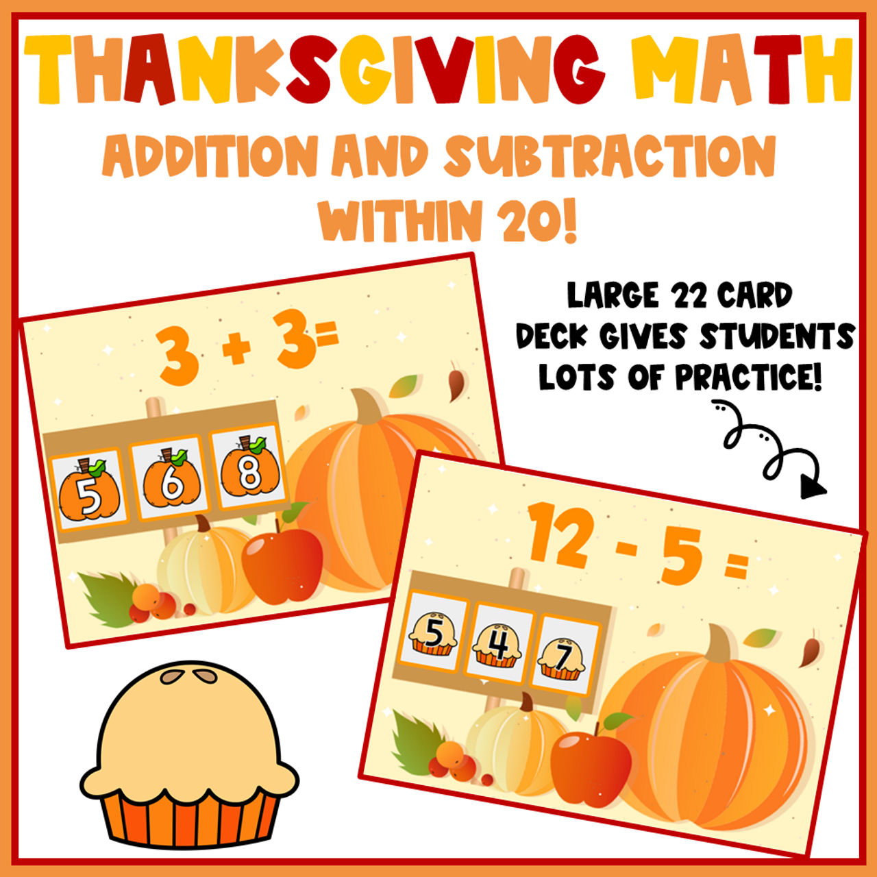 Thanksgiving Math Addition and Subtraction Within 20