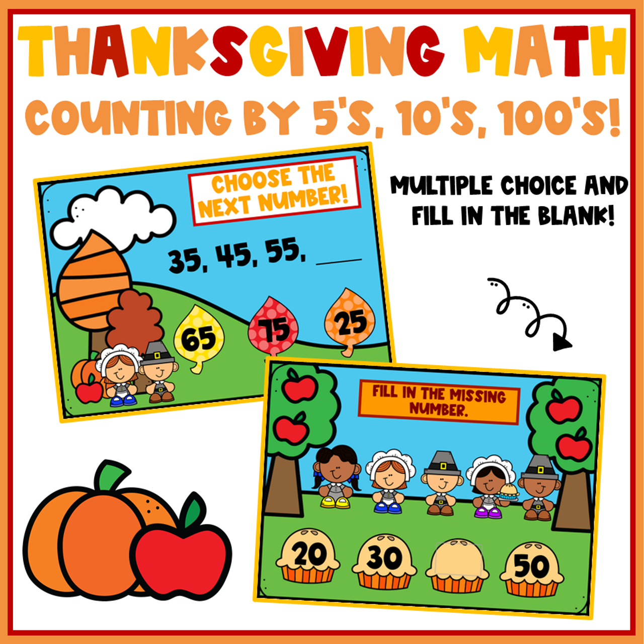 Thanksgiving Math Counting by 5's, 10's, and 100's
