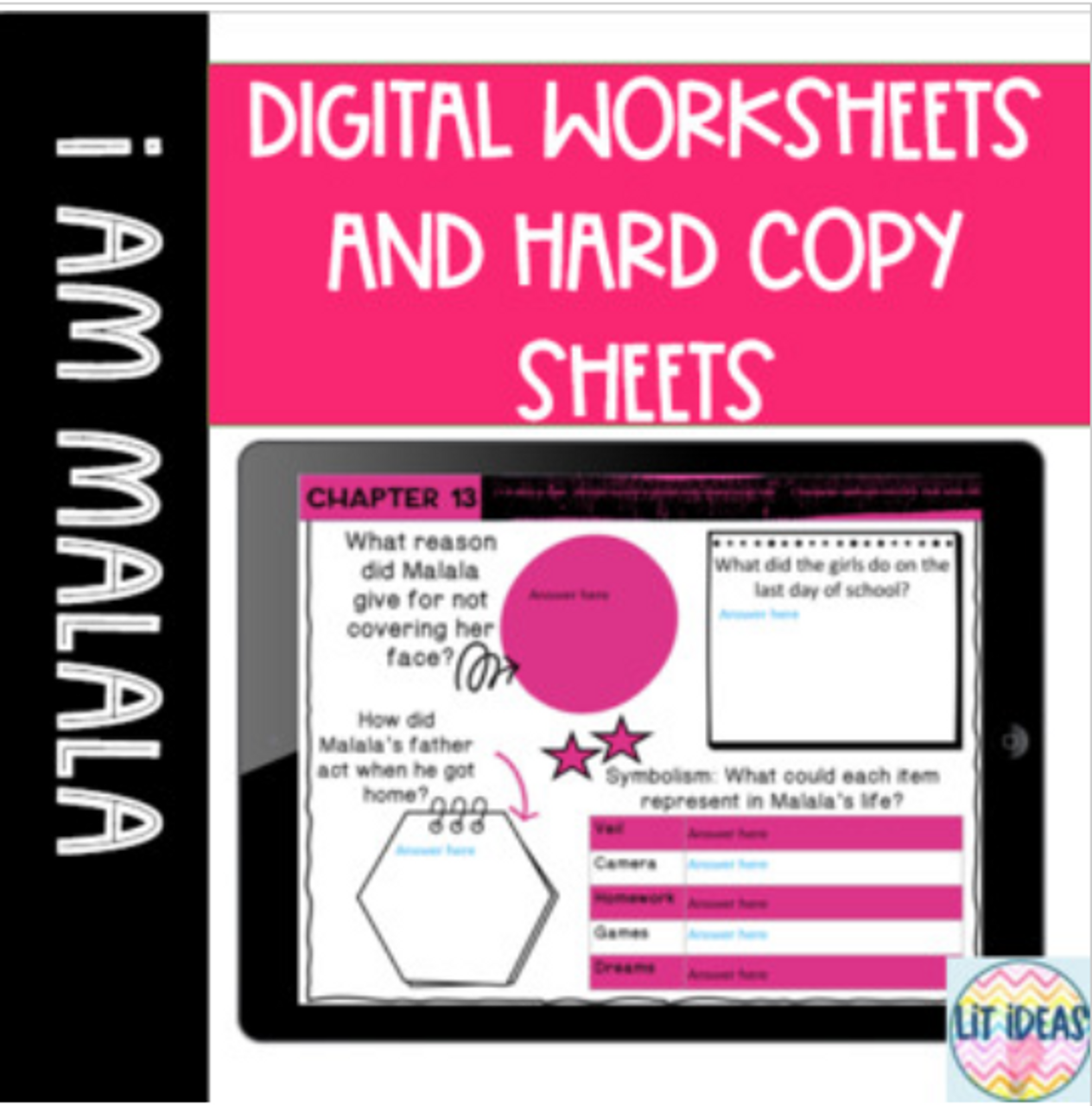 I Am Malala Digital Worksheets and Hard Copies