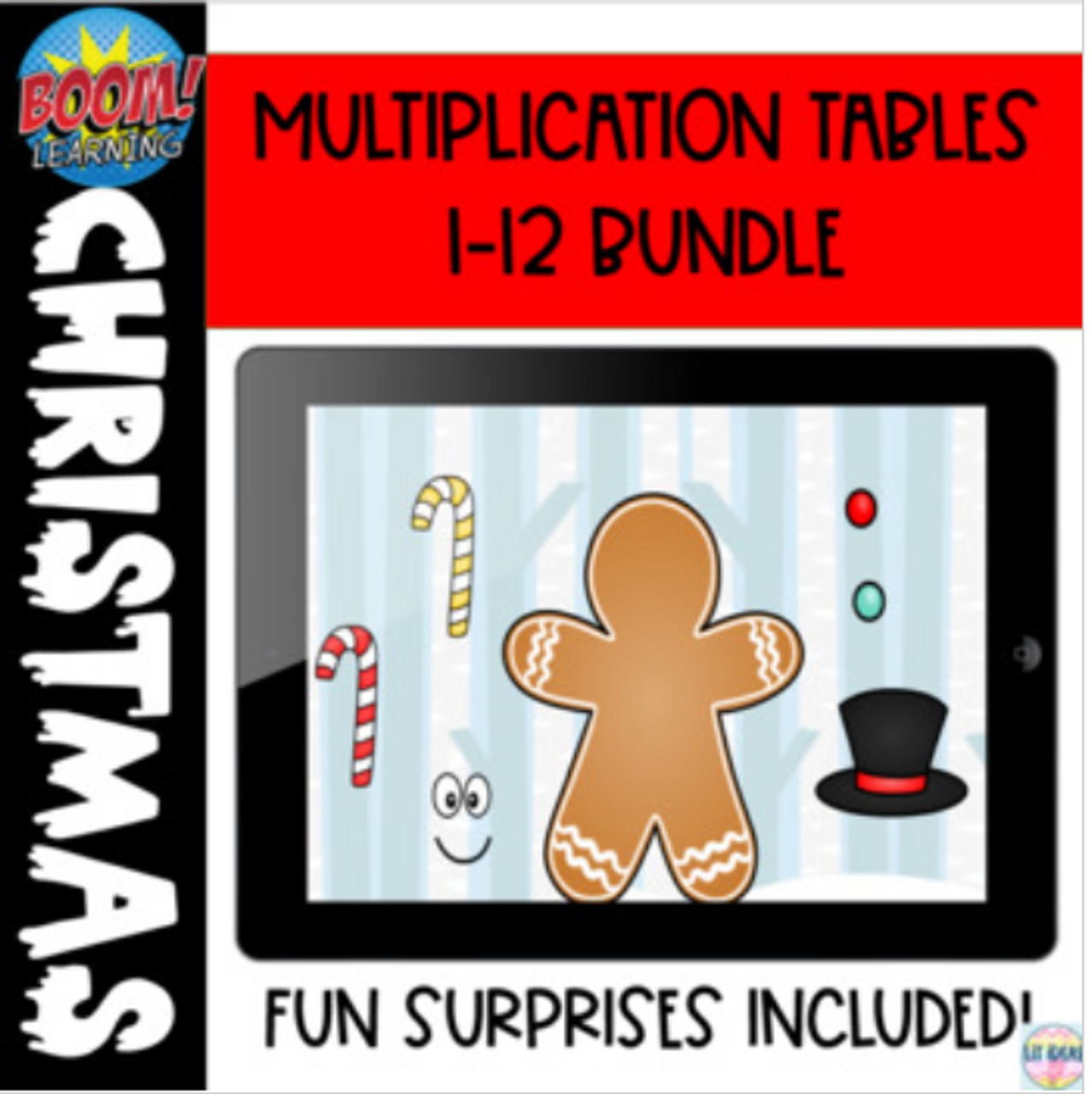 Christmas Multiplication  tables 1-12 Boom Cards