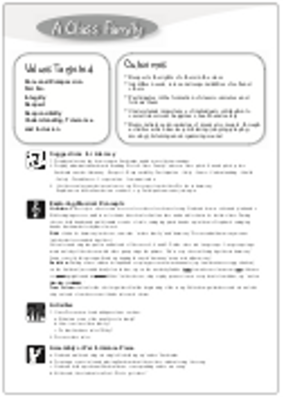 'A CLASS FAMILY' (Grades Pre K-4) ~ Curriculum Song MP3 & Lesson Materials