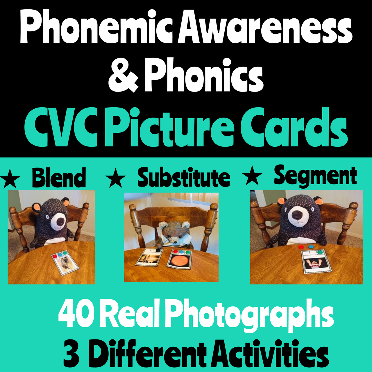 Phonemic Awareness Picture Cards for CVC Words