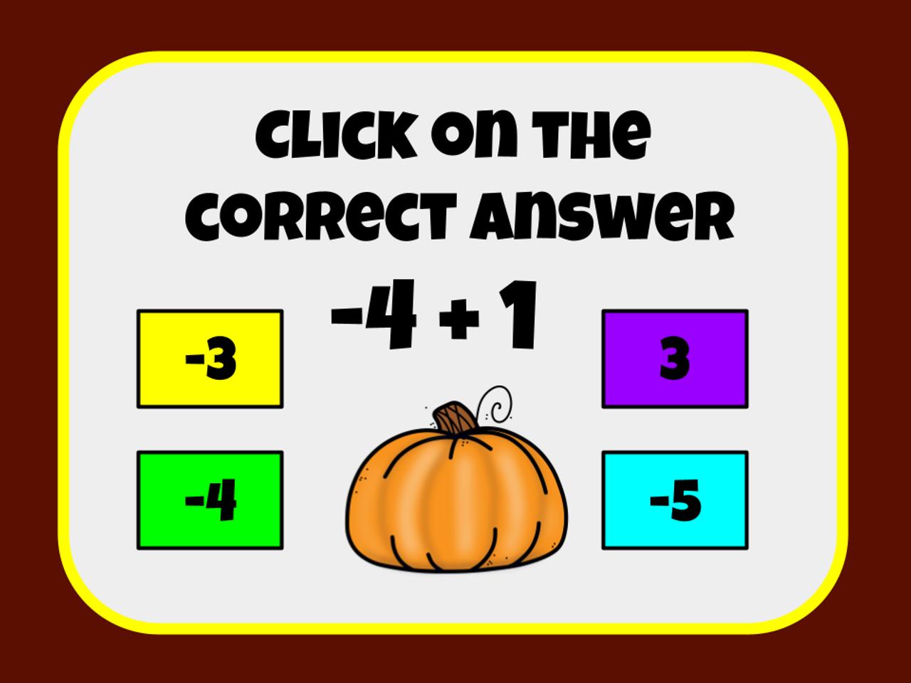 Thanksgiving Integer Slide Game