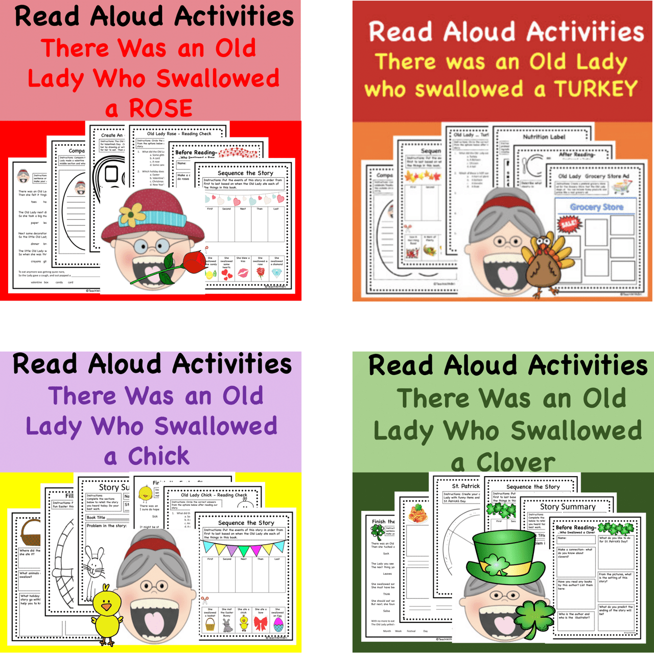 Digital Version Discount Bundle: Book Series Favorites- There Was An Old Lady Who Swallowed A -- 8 Stories get 3 Free