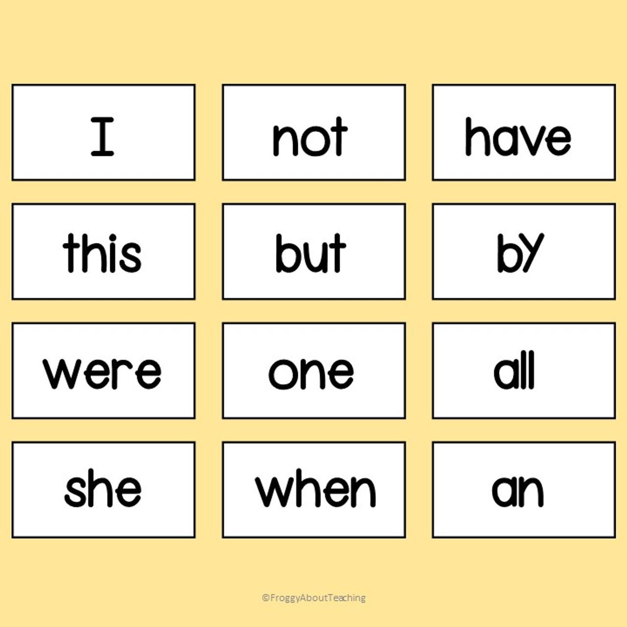 107 Sight Words Fill-In Sentences
