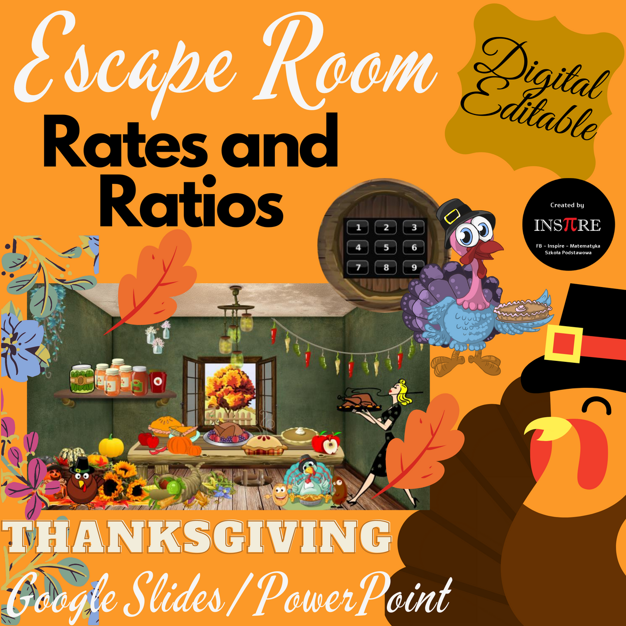 Rates and Ratios Thanksgiving Escape Room in Google Slides, PowerPoint EDITABLE
