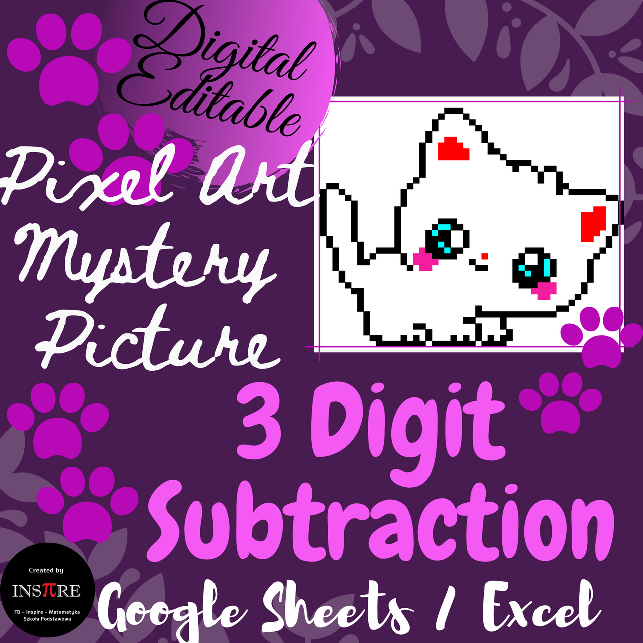 3 Digit Subtraction with Regrouping Cat Math Pixel Art Mystery Picture EDITABLE
