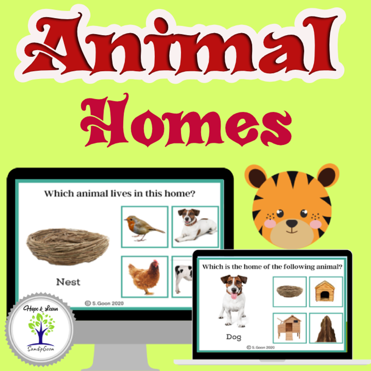 Animals and Their Homes- 2 Level Matching- Boom Cards- With Real Images