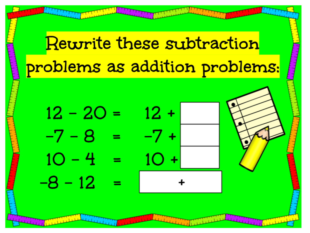 Integers - Subtract by Adding the Opposite