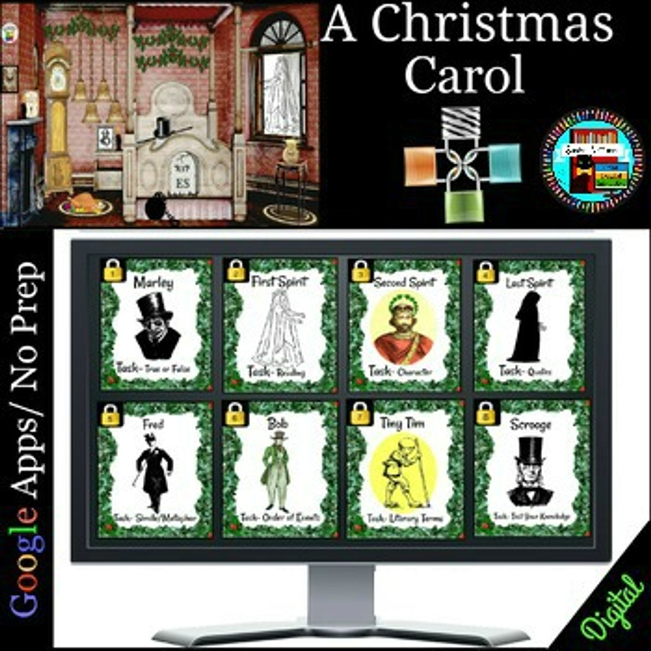 A Christmas Carol Digital Escape Room Breakout Activity Distance Learning