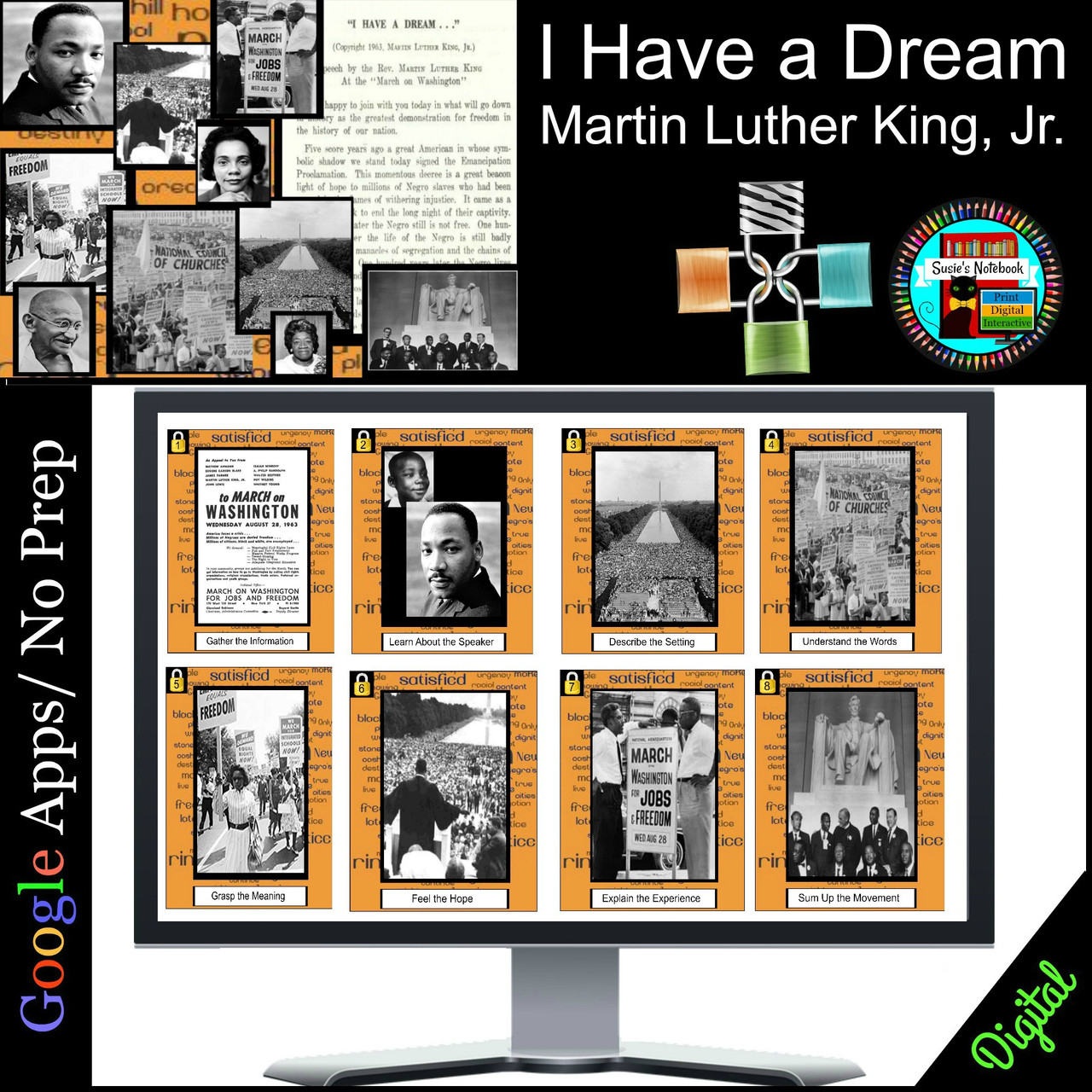 Black History MLK I Have a Dream, Civil Rights Movement Escape Distance Learning