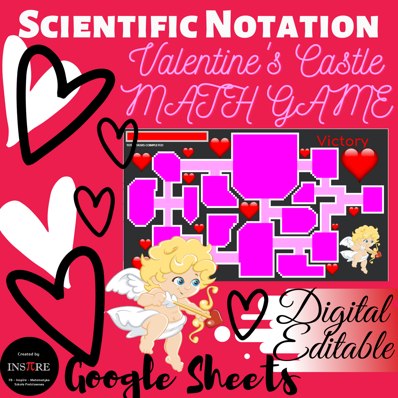 DIGITAL Game Valentine's Day Activity - Converting Scientific Notation EDITABLE