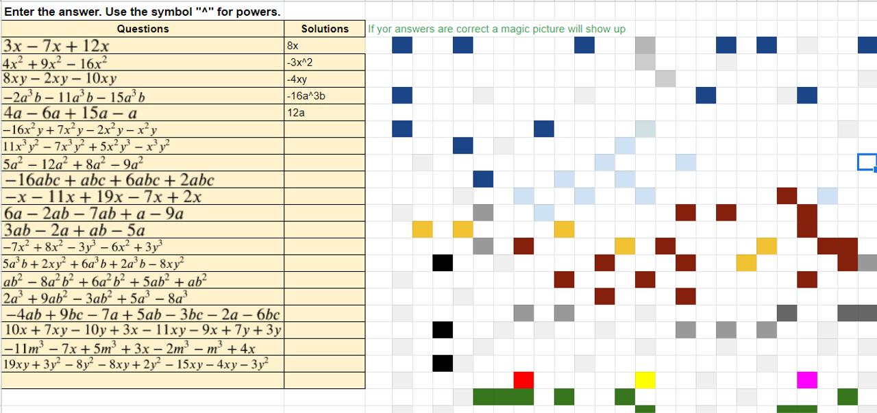 Combining Like Terms Worksheet Pixel Art Activity Google Sheets