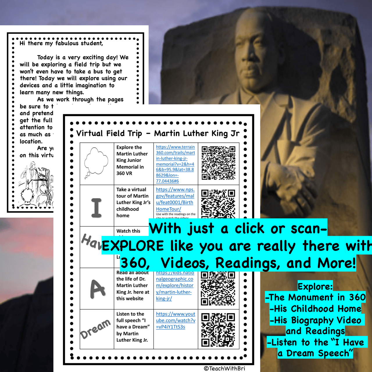 FREE Martin Luther King Jr. Monument Virtual Field Trip - PDF Version