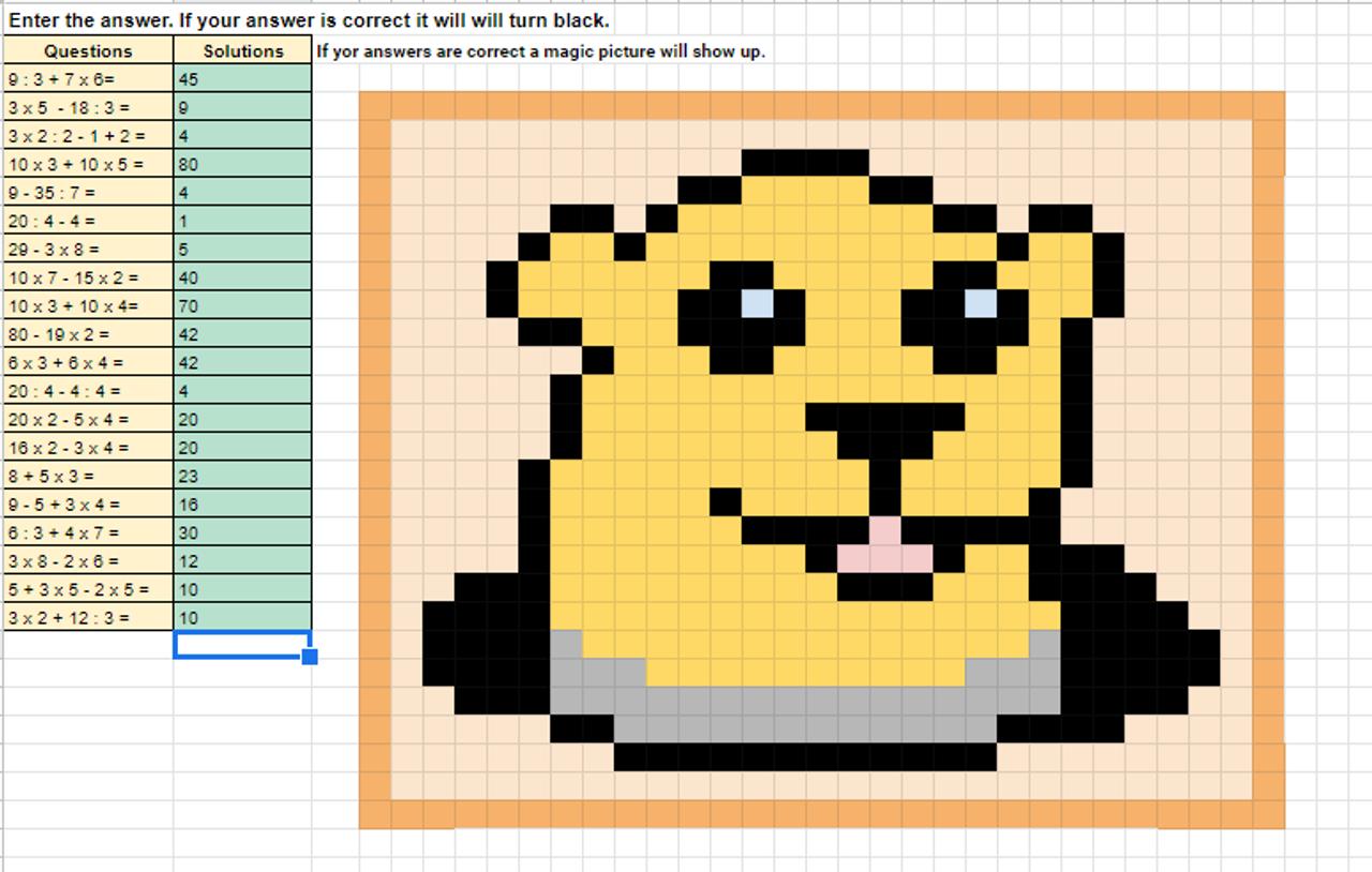 Order of Operations Pixel Art Activity Google Sheets Groundhog