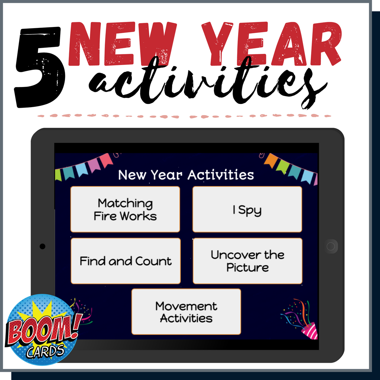 New Years Activities Boom Cards