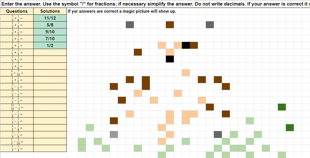 Adding and Subtracting Fractions Pixel Art Activity Google Sheets Groundhog