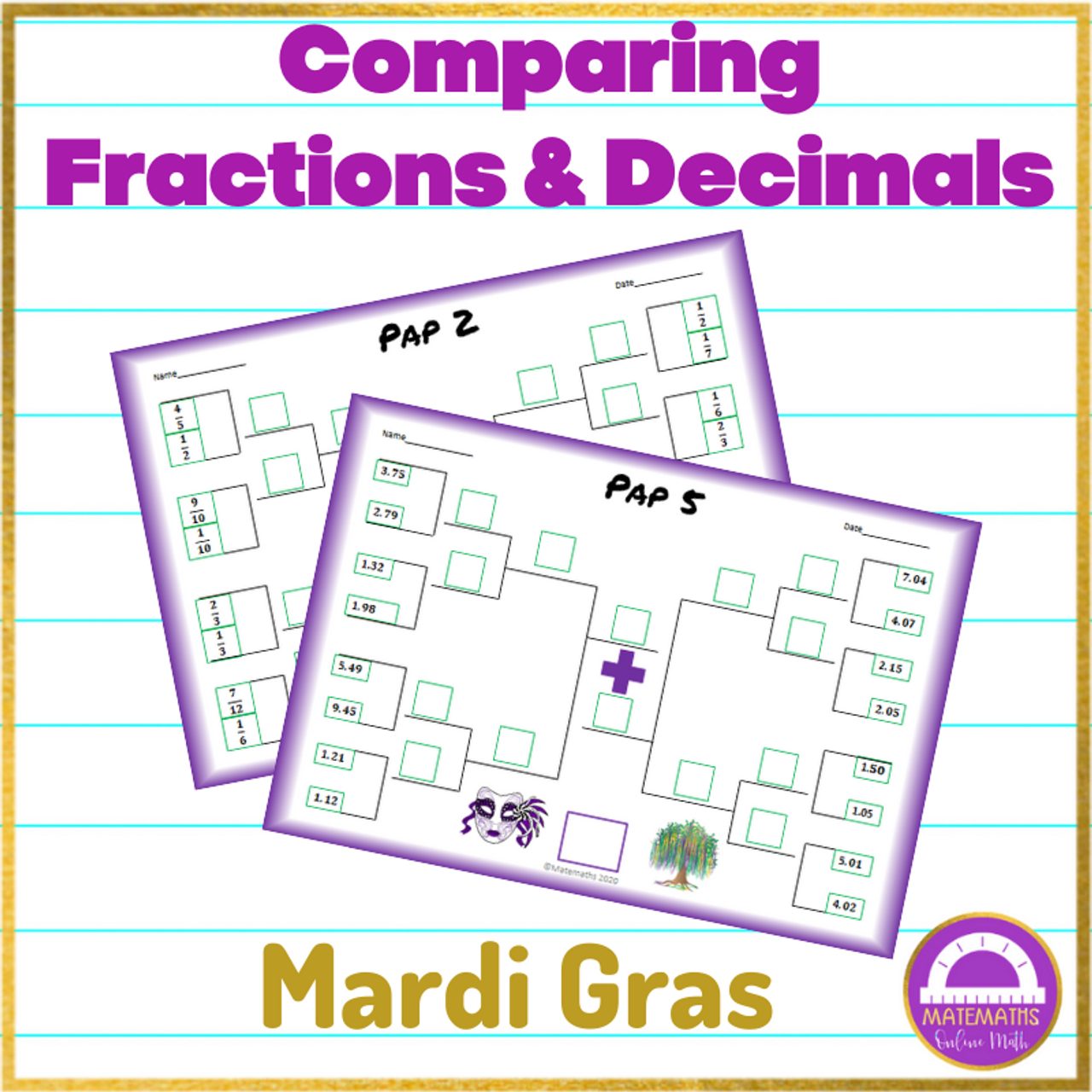 Mardi Gras Comparing Fractions and Decimals Activity