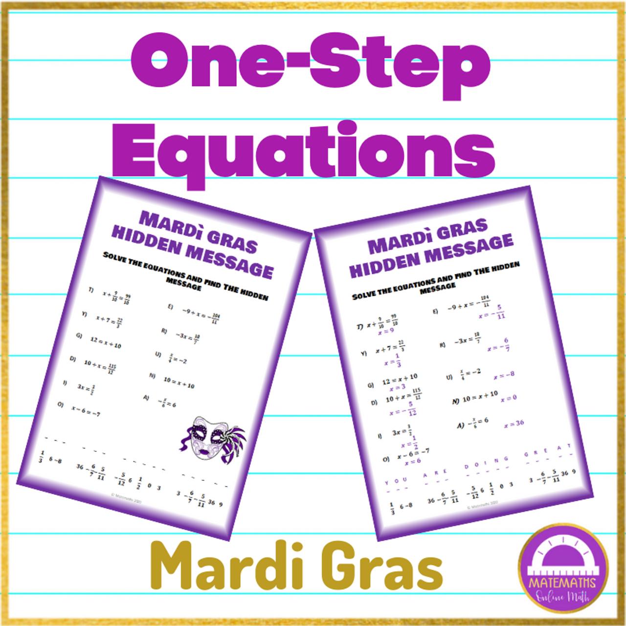 Mardi gras Algebra  One Step Equations Activity