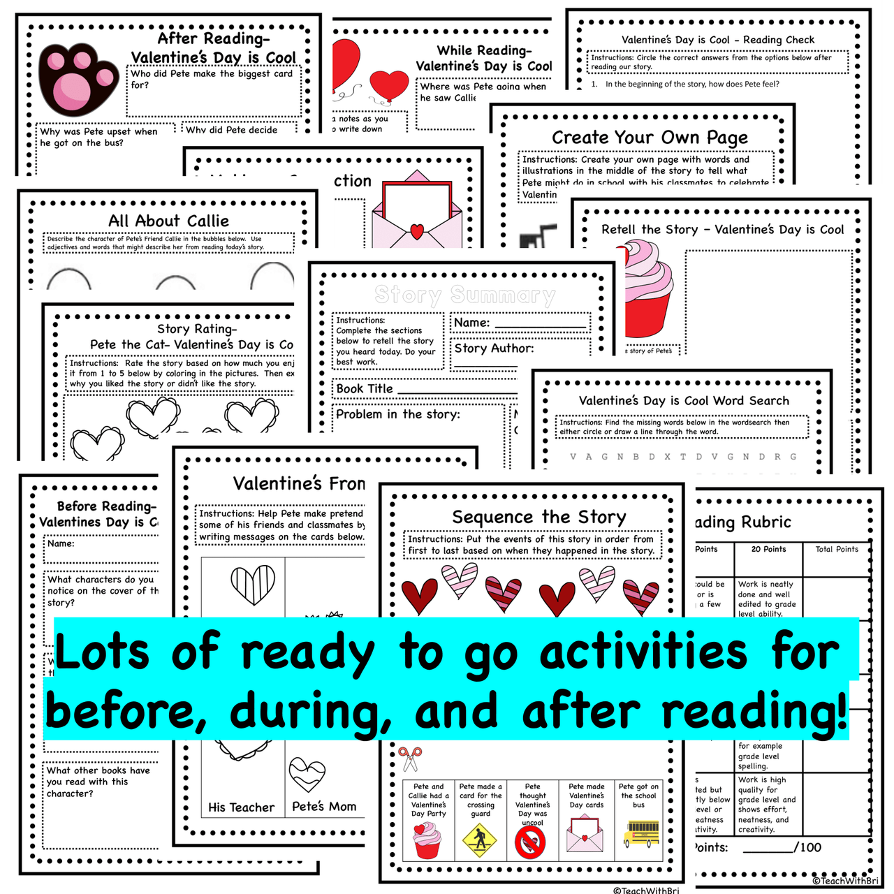 Pete the Cat Valetine's Day is Cool - Read Aloud Activity Pack - PDF Printable Version