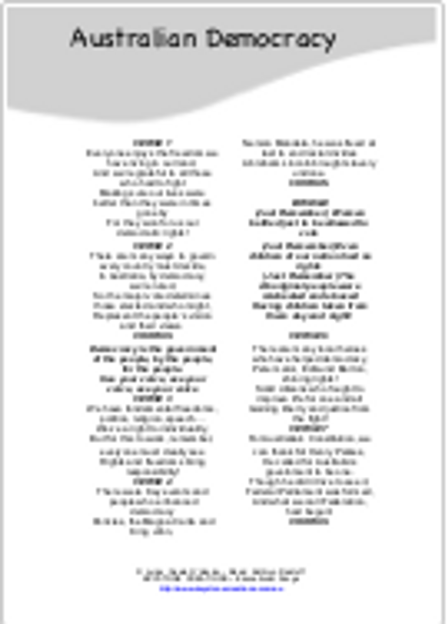 'AUSTRALIAN DEMOCRACY' (Grades 3-8) ~ Curriculum Song MP3 & Lesson Materials