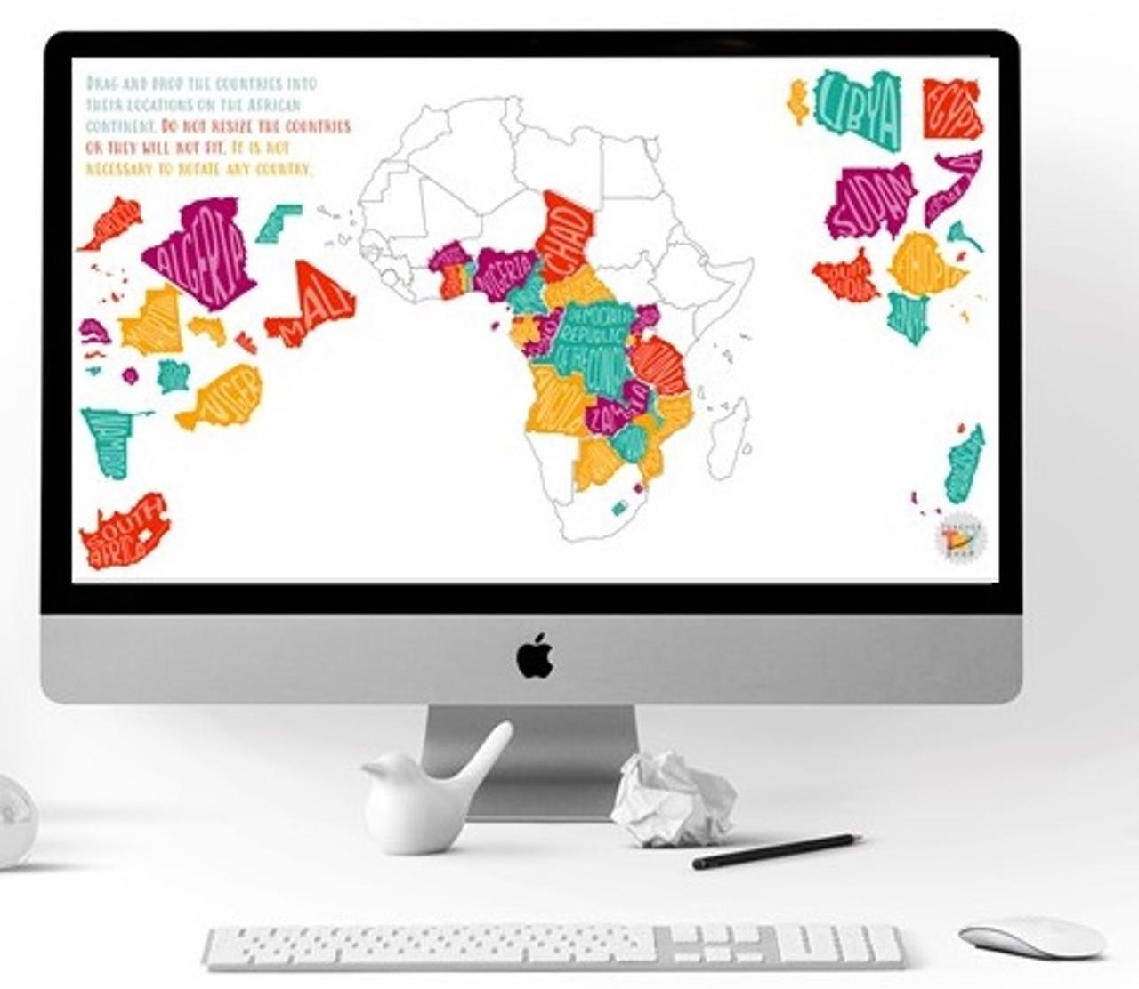 Africa Digital Map-Making Activity for Google Slides™