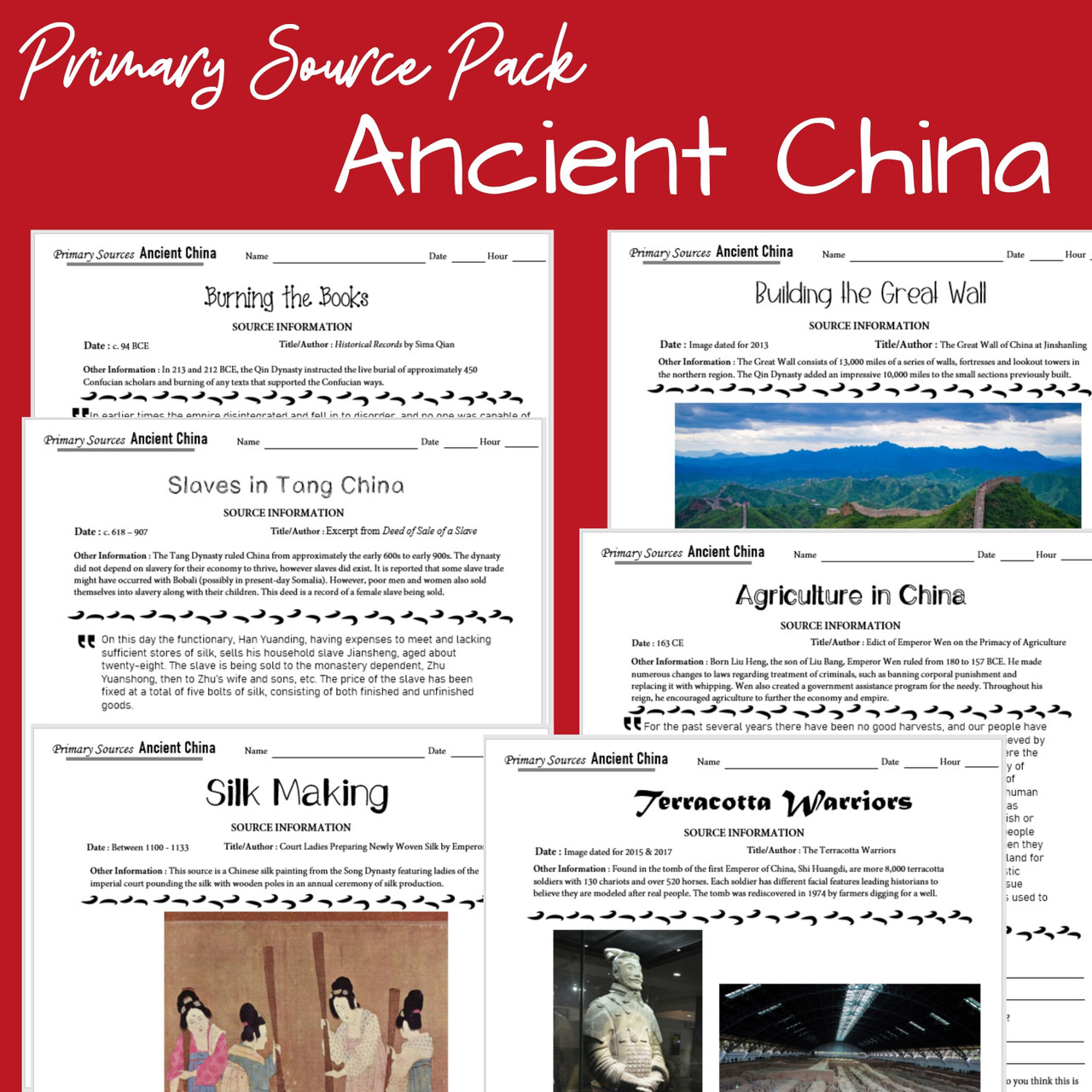 Ancient China Primary Source Pack (Google Compatible)