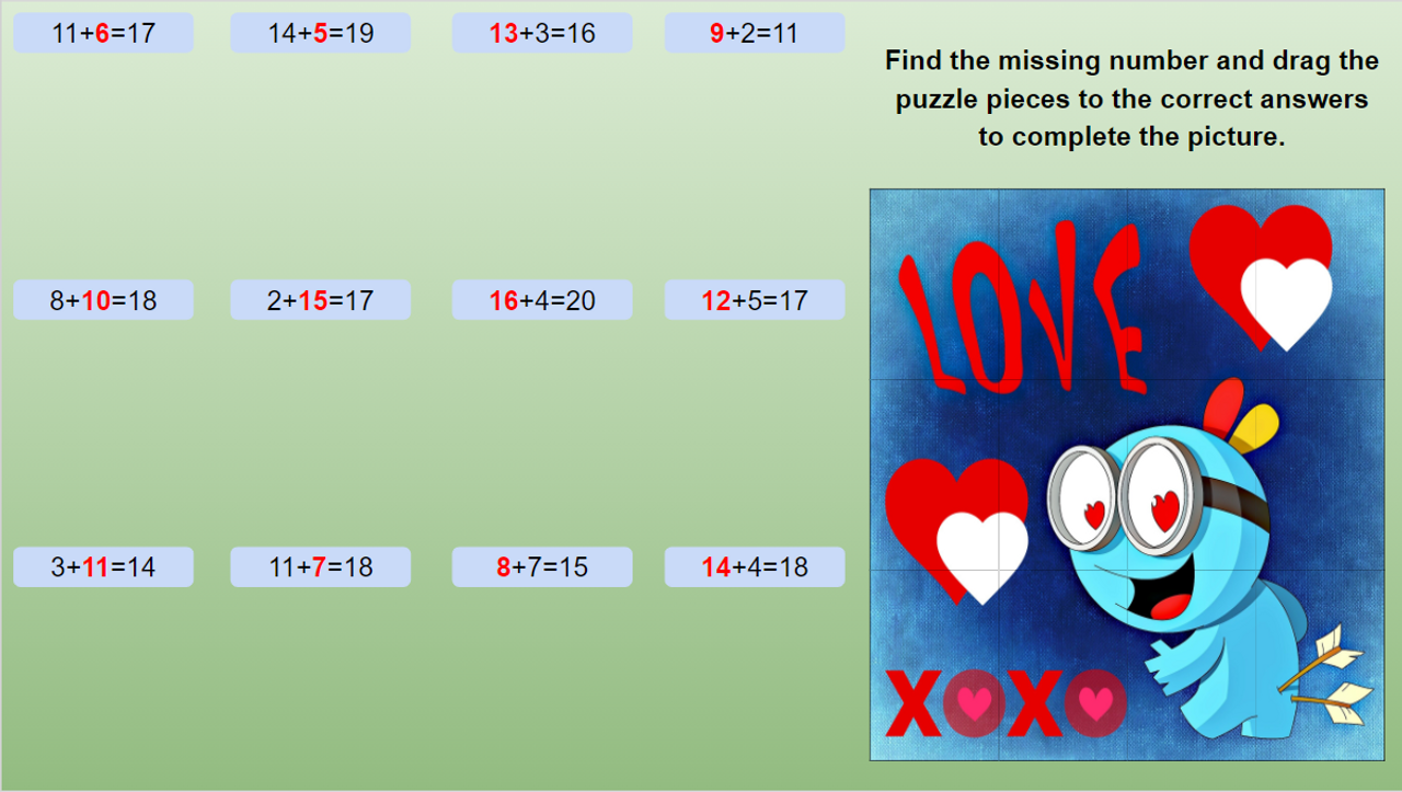 Valentines Day Math Puzzles Missing Addends, Subtrahend, Minuend to 20 EDITABLE