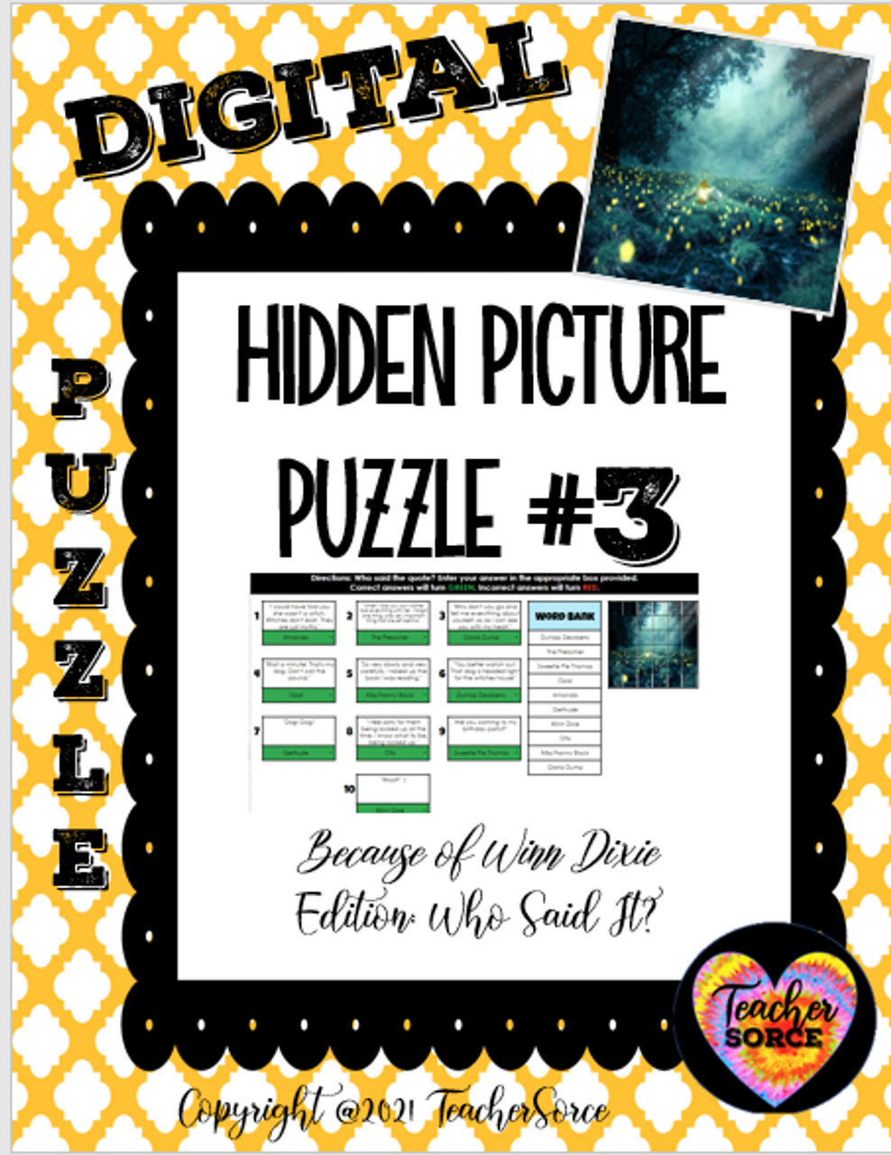 Hidden Mystery Picture Puzzles: Because of Winn Dixie Edition Who Said It Quotes