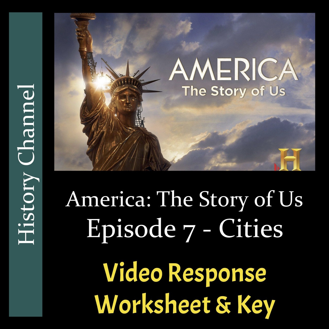 America The Story of Us - Episode 07: Cities - Video Response Worksheet & Key (Editable)