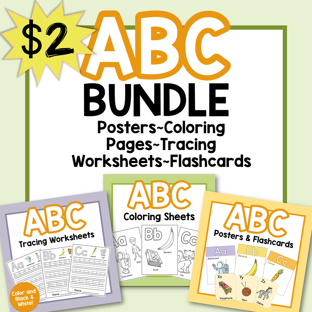 ABC Alphabet Bundle Worksheets/Posters/Coloring Pages/Flashcards
