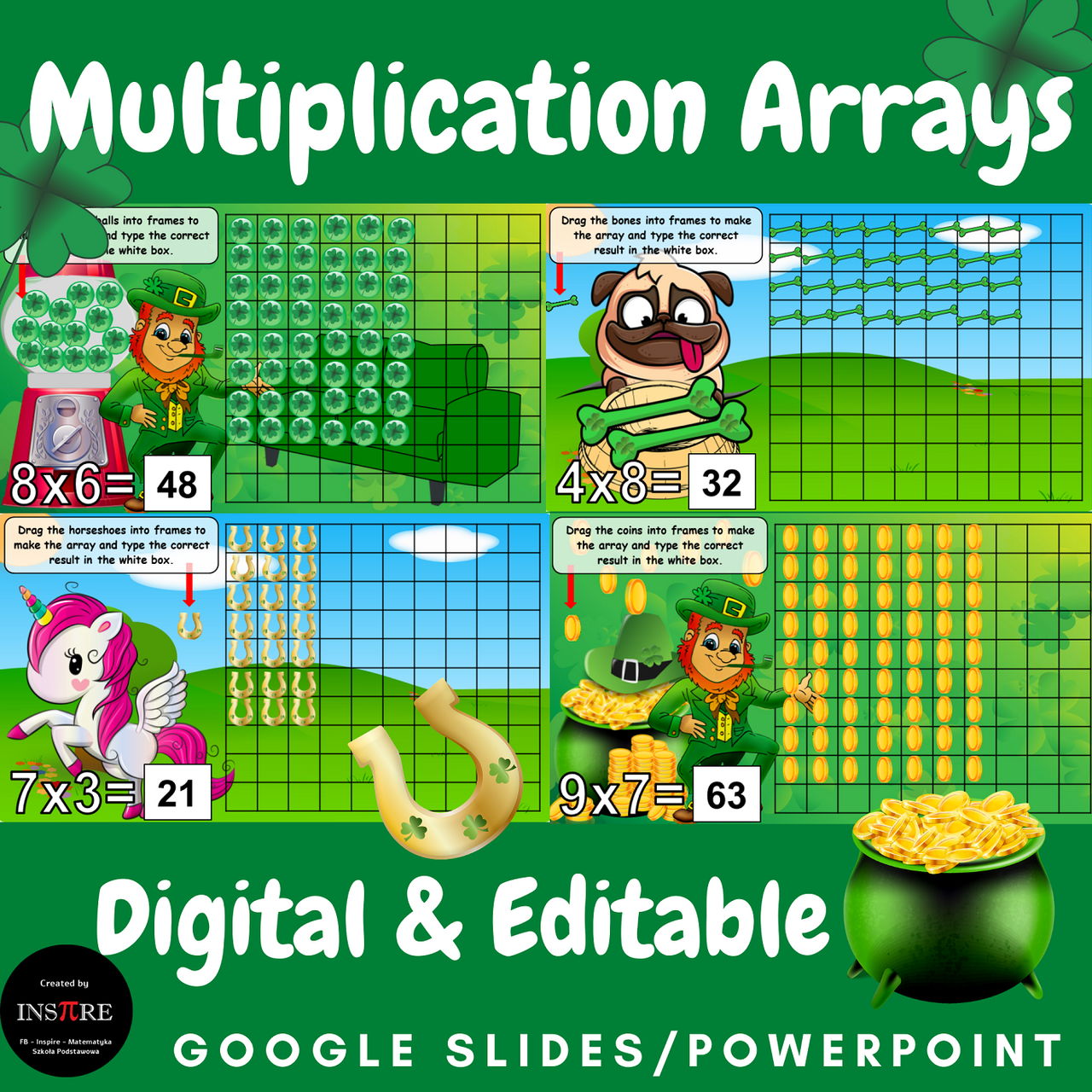 3rd Grade Multiplication Arrays | St. Patrick's Day | EDITABLE in Google Slides