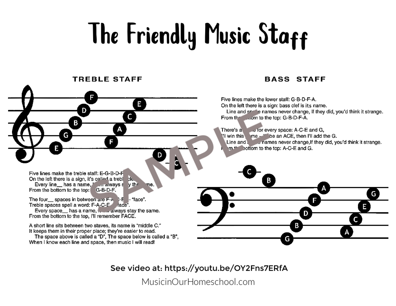 """""""The Friendly Music Staff"""" song set"""