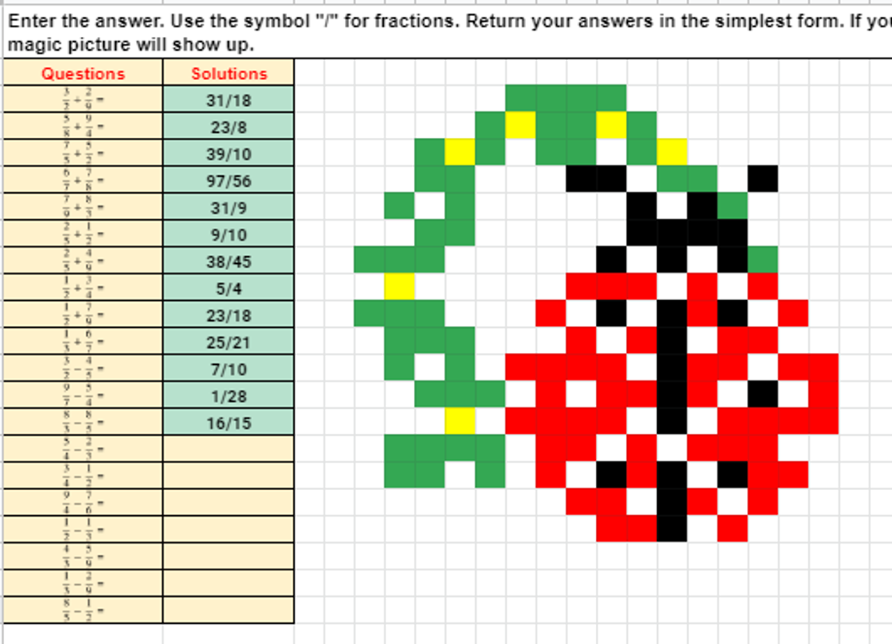 St. Patrick's Day Adding and Subtracting Fractions Pixel Art Activity