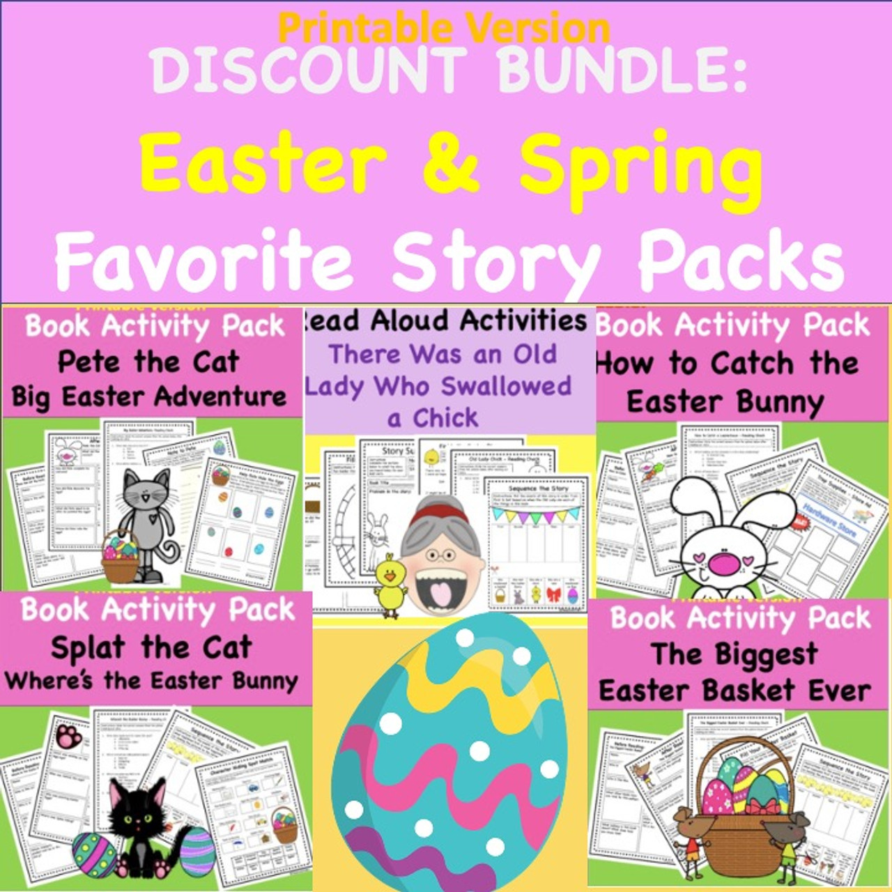 Easter and Spring Read-A-Loud Activities - Discount Bundle - Printable Version (Buy 3 Get 2 FREE)