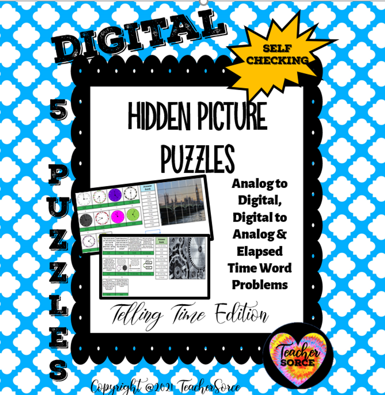 Telling Time Hidden Mystery Pixel Art Puzzle Digital to Analog