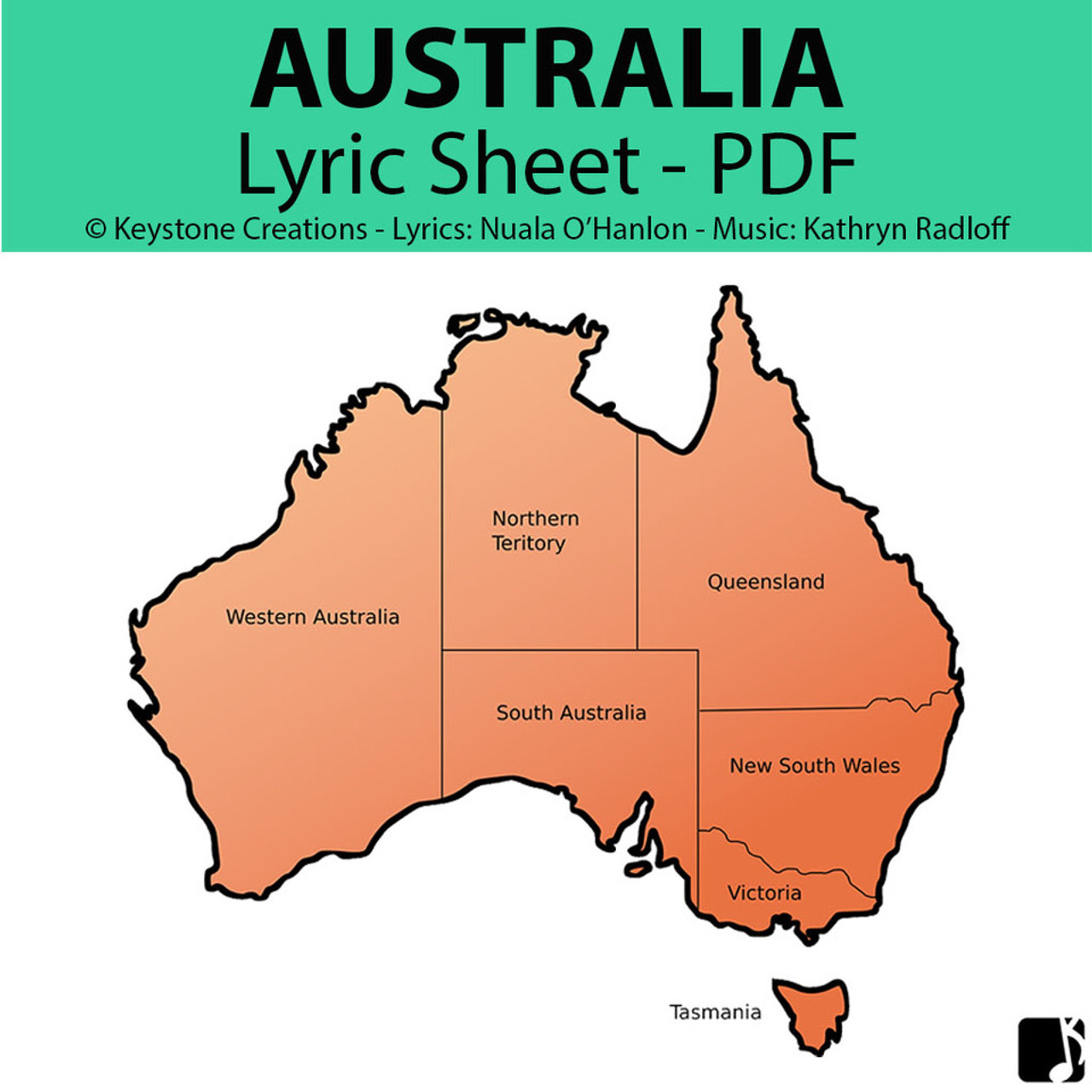 'AUSTRALIA' (Grades 3-7) ~ Lyric Sheet/Poem PDF