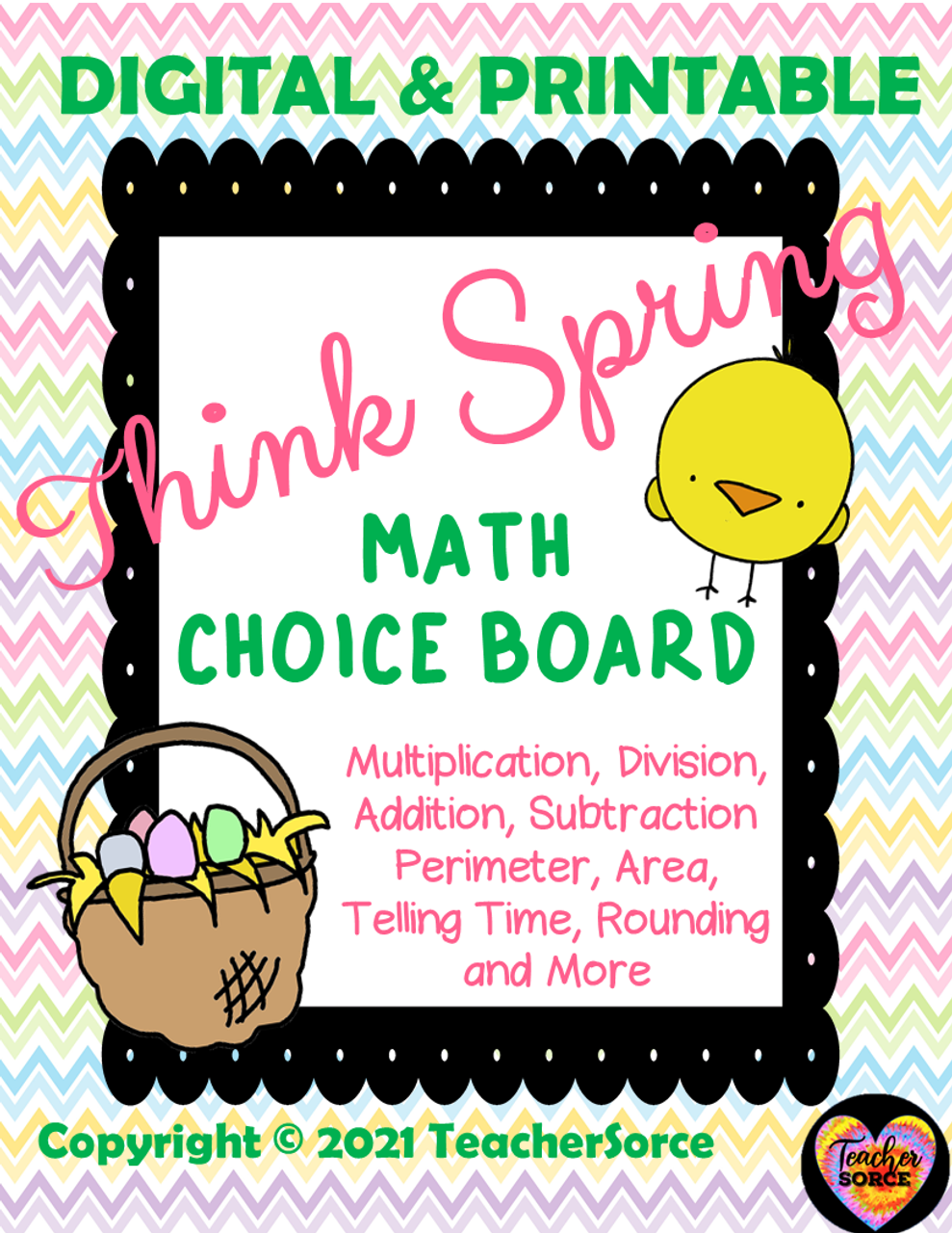 Think Spring Easter Math Land Choice Board