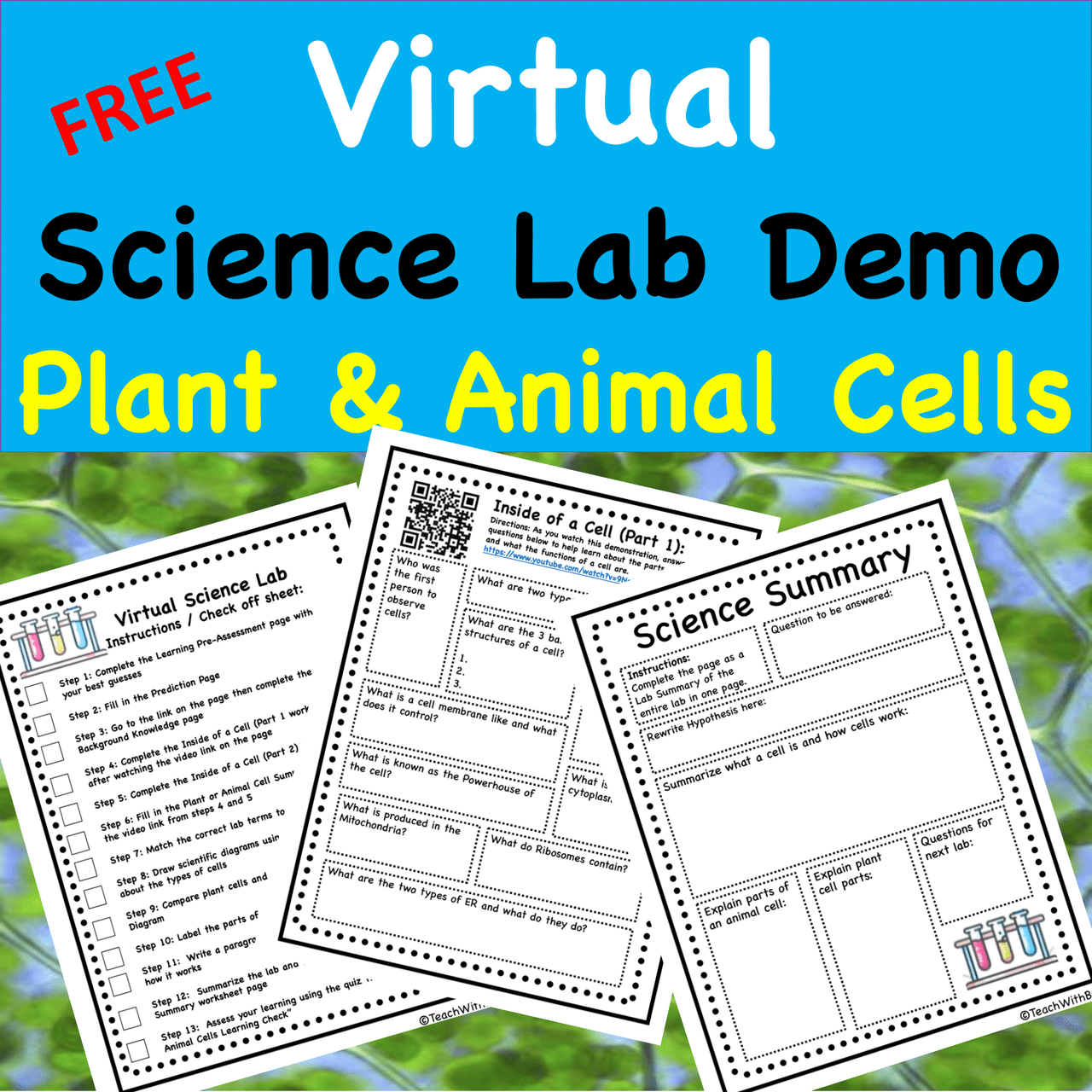 FREE Virtual Science Lab Demonstration-Plant and Animal Cells -  Version and PDF Version Included