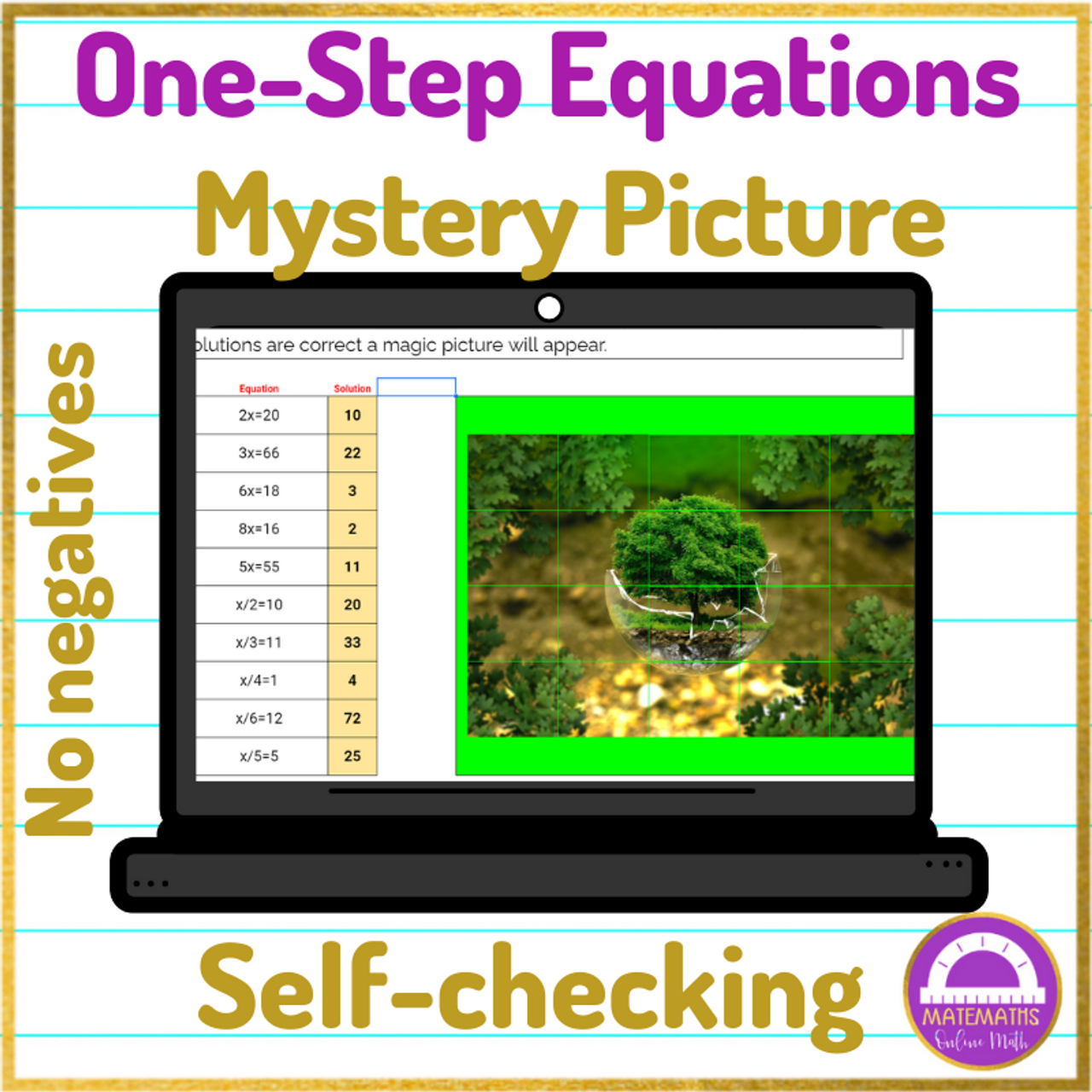 Earth Day Solving One Step Equations Pixel art Activity No Negatives