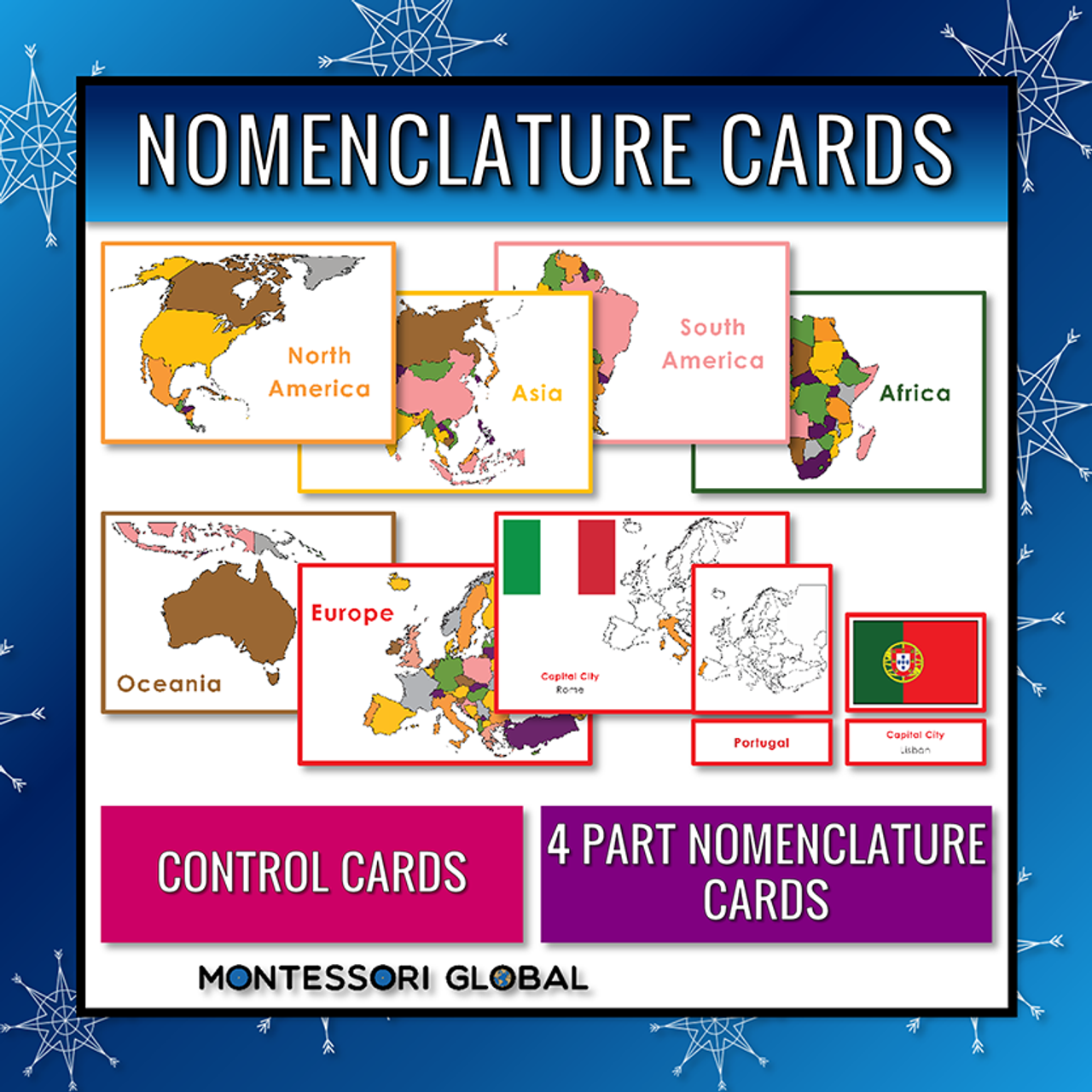 Montessori Printable Continents | Countries Flags Capital Cities | Powerpoint