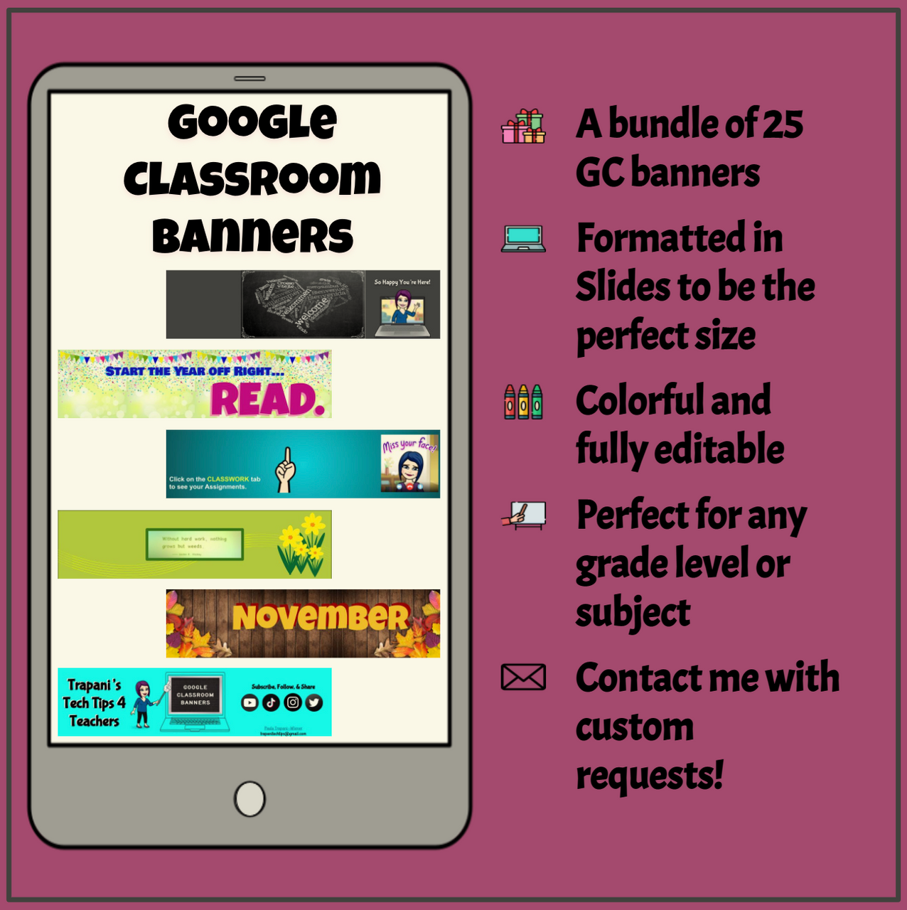 Google Classroom Banners Bundle