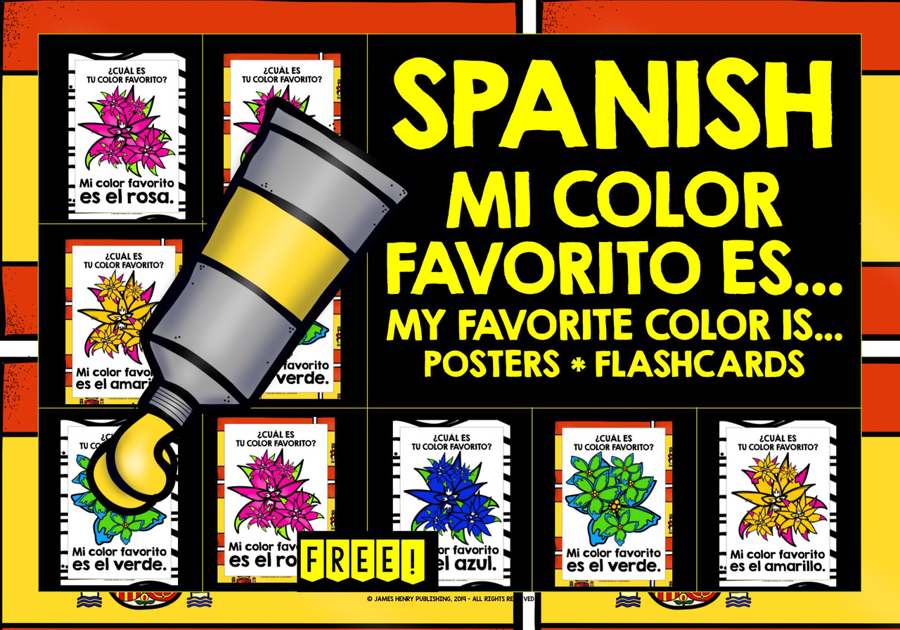 ELEMENTARY SPANISH COLORS FLASHCARDS POSTERS