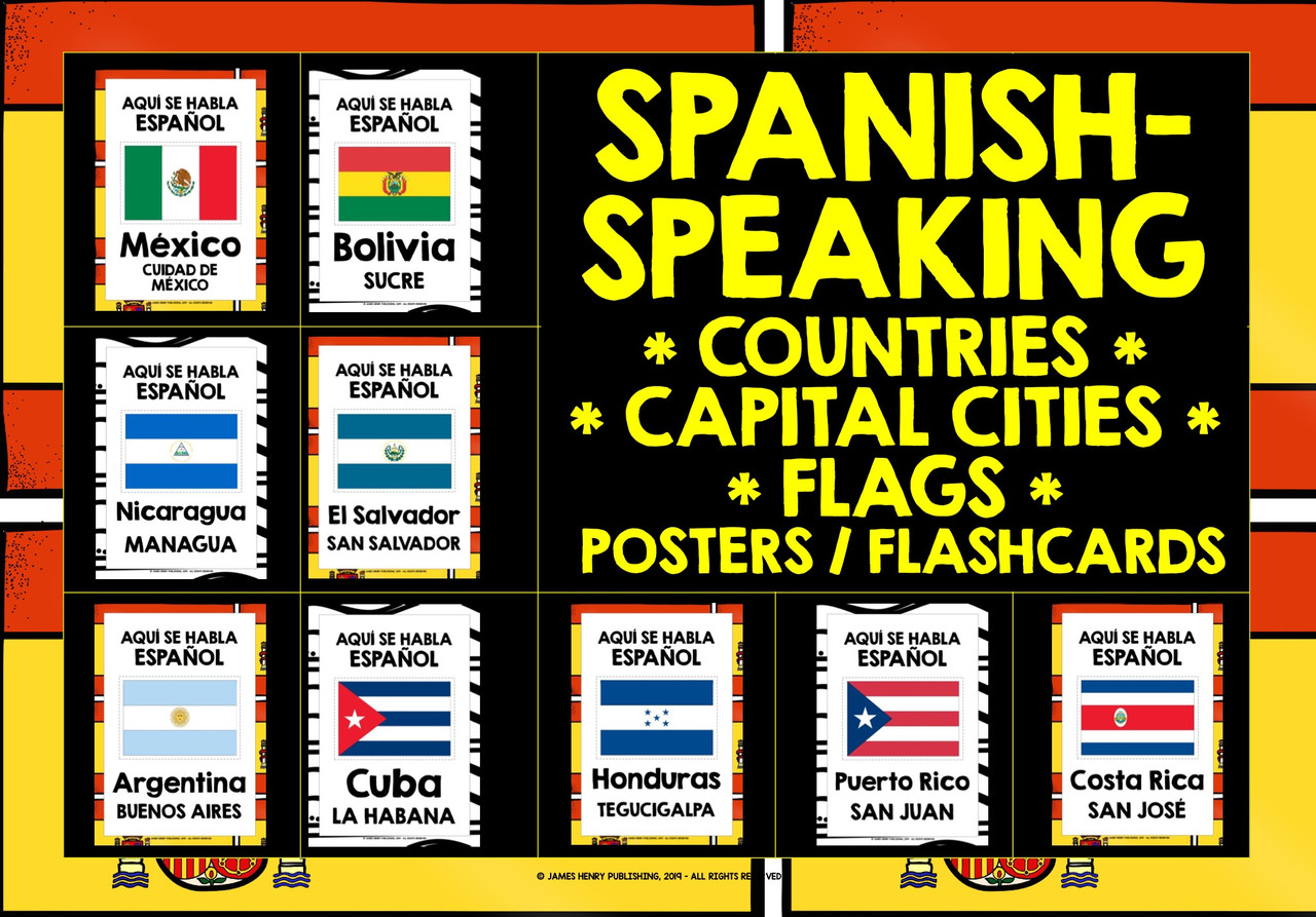 SPANISH-SPEAKING COUNTRIES FLASHCARDS POSTERS