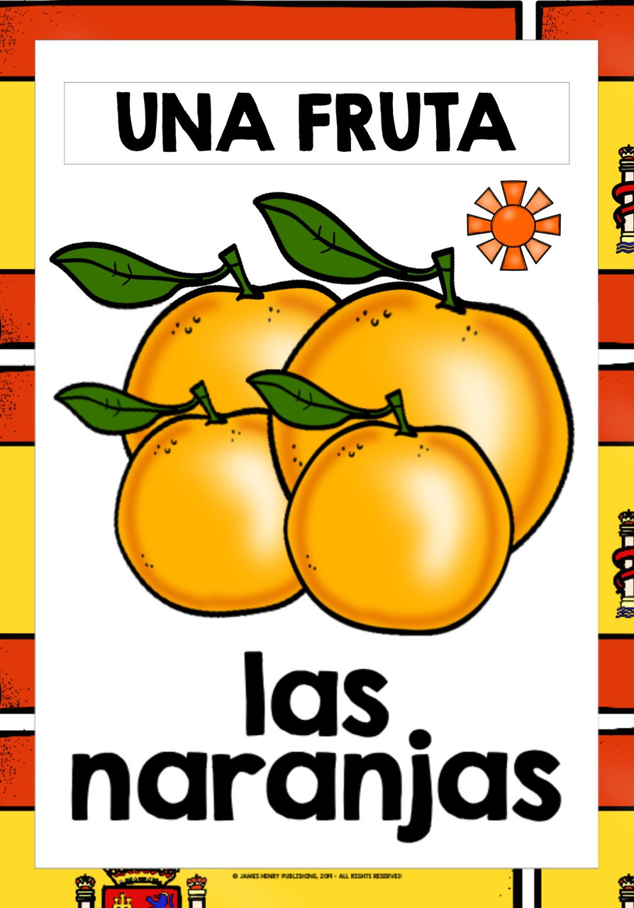 SPANISH FRUITS FLASHCARDS POSTERS