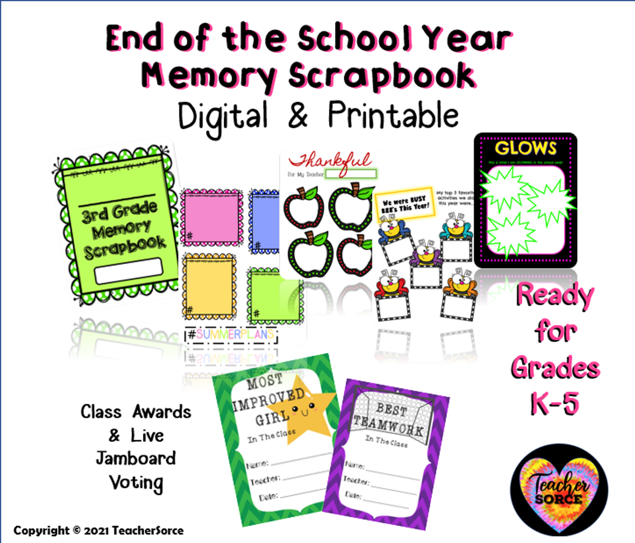 End of the Year Memory Book and Class Awards-Digital and Printable