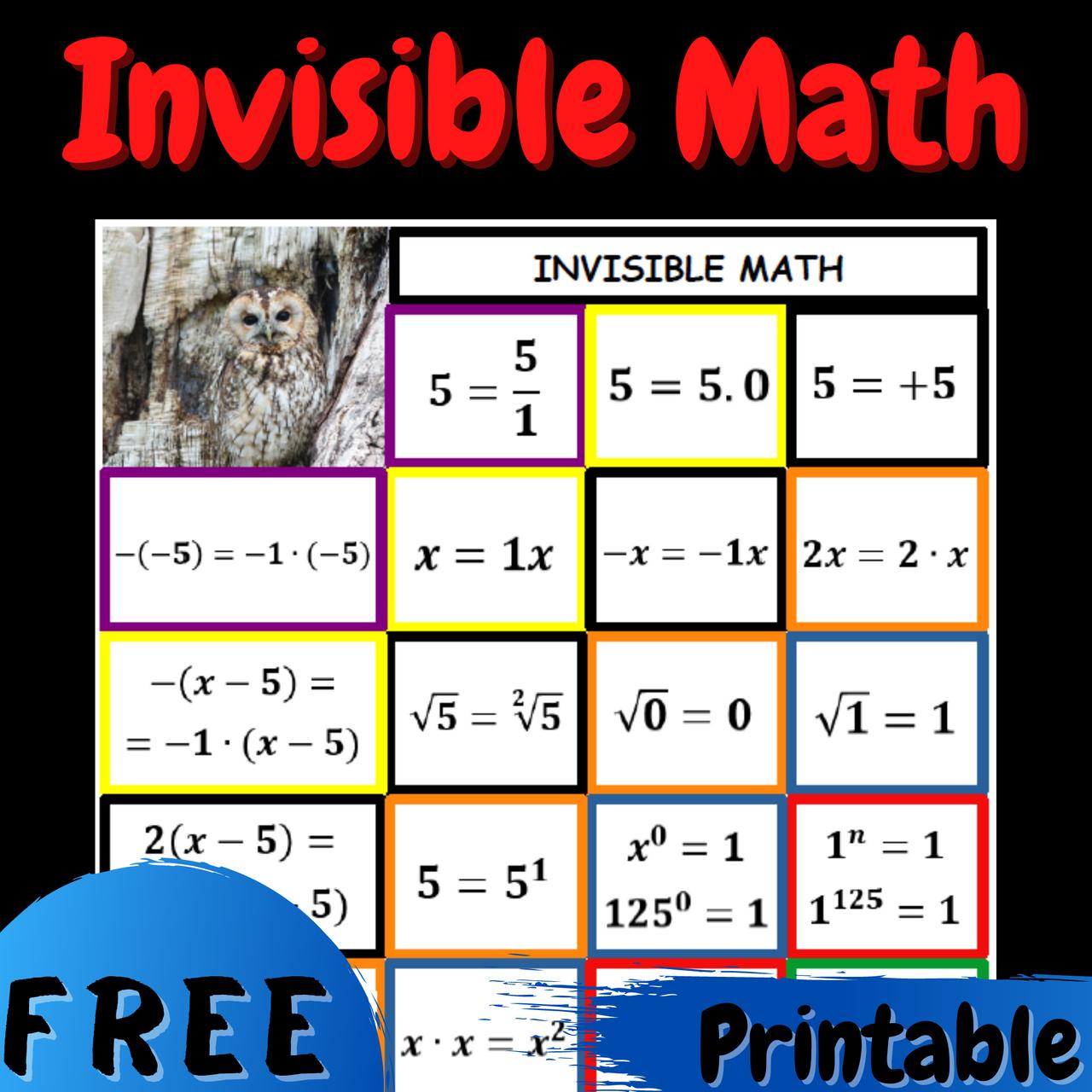 FREE Invisible Math Poster Bulletin Board Anchor Chart Printable PDF